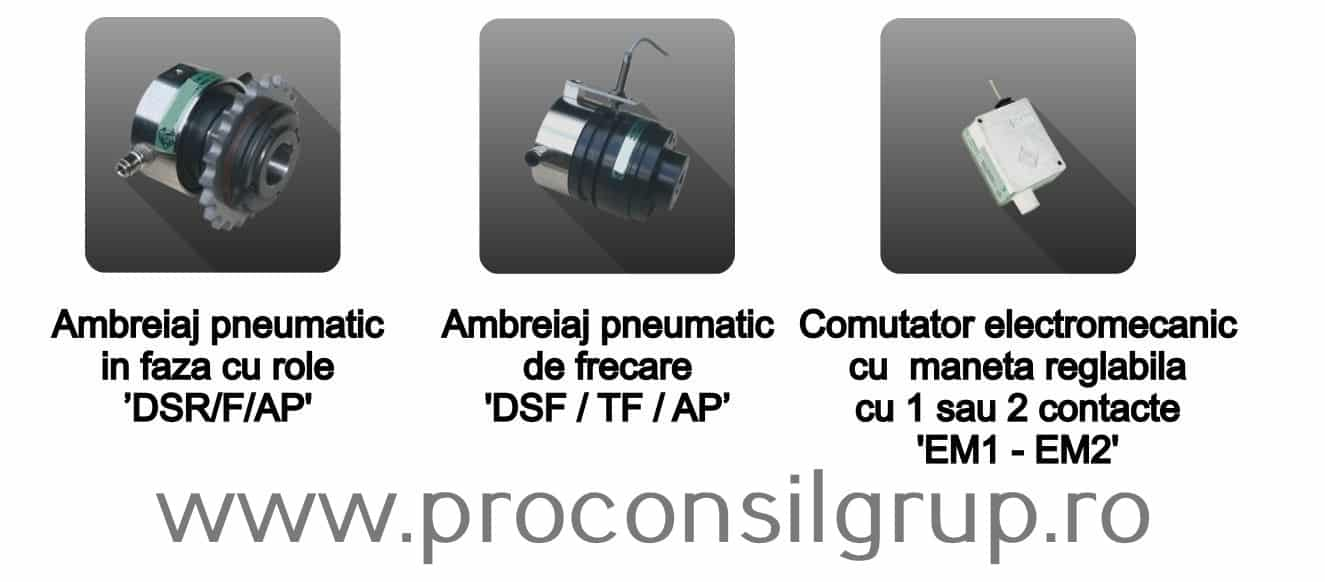 Ambreiaje pneumatice in faza cu role, de frecare si comutator electromecanic cu maneta reglabila